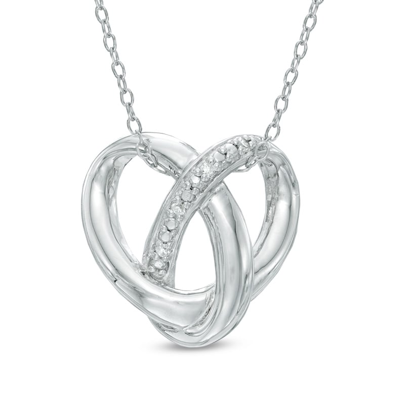 Zales Diamond Accent Pretzel Twist Heart Pendant in Sterling Silver ($79)
