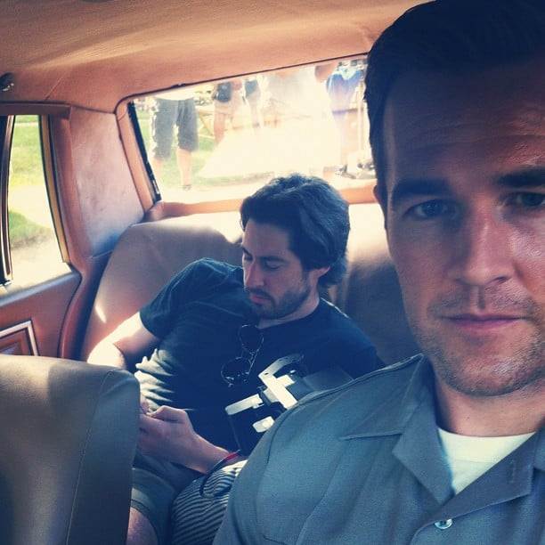 James Van Der Beek managed to get director Jason Reitman chilling in a backseat of a car. Source: Instagram user vanderjames