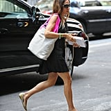 Sarah Jessica Parker headed out for the day in an LBD and nude flats.