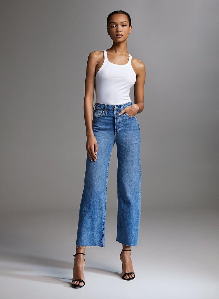 Aritzia Denim Forum The Farrah Wide Leg High-Waisted Jeans