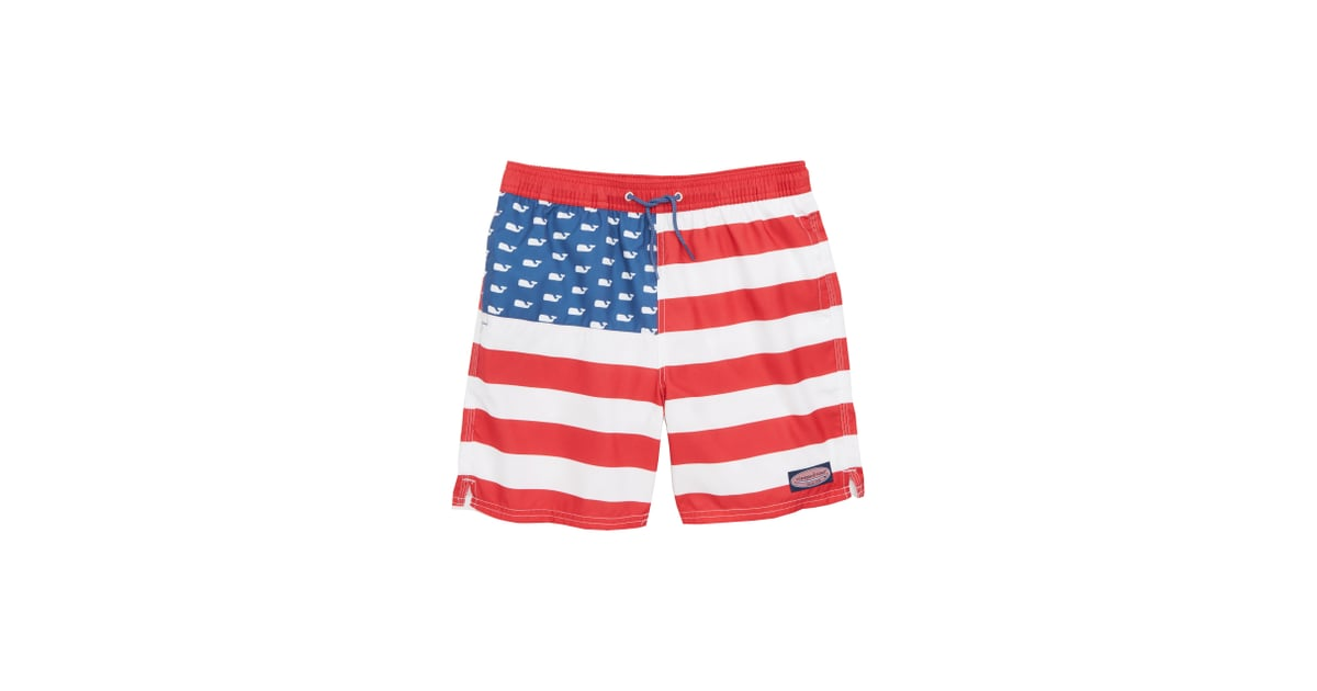 215a8ac3e5 Vineyard Vines Chappy USA Flag Swim Trunks | Red, White, and Blue Clothes  For Kids 2018 | POPSUGAR Family Photo 22
