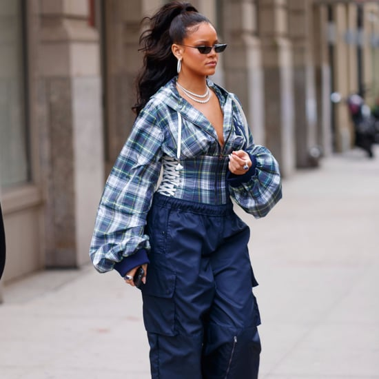 Rihanna Wearing Blue Fenty Puma Track Pants