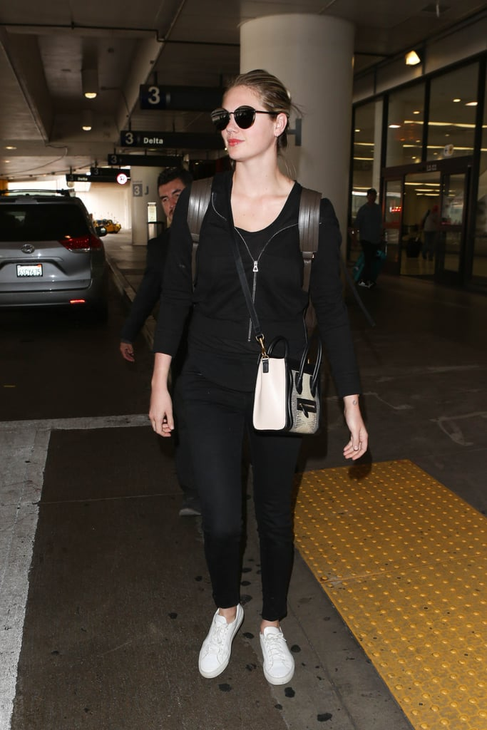 Kate Upton Carrying a Black-and-White Céline Nano Luggage Tote