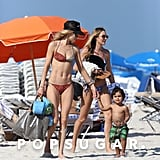 Doutzen Kroes took her son, Phyllon, to the beach with Candice Swanepoel in Miami.