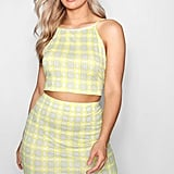 Check Print High-Neck Crop Top and Bodycon Mini Skirt