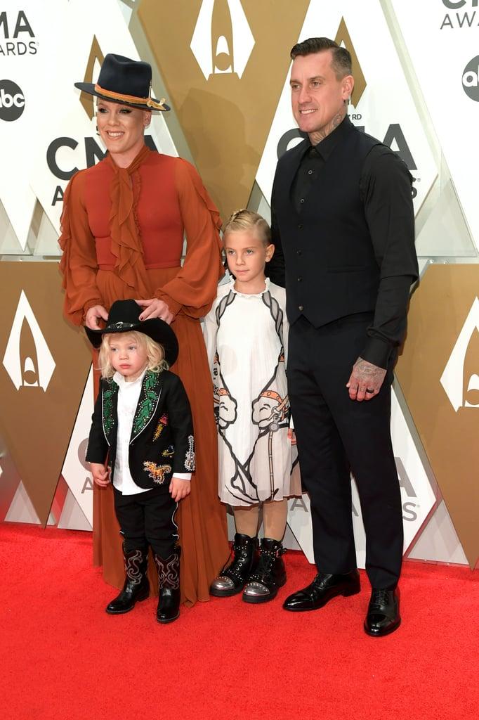 Pink, James Hart, Willow Hart, and Carey Hart at the 2019 CMA Awards