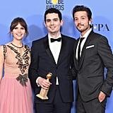 Diego Luna With Rogue One Costar Felicity Jones and La La Land Director Damien Chazelle
