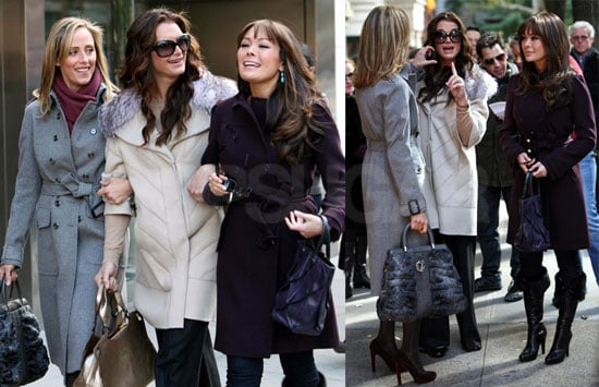 Photos of Lindsay Price, Kim Raver, and Brooke Shields Filming Lipstick Jungle in NYC