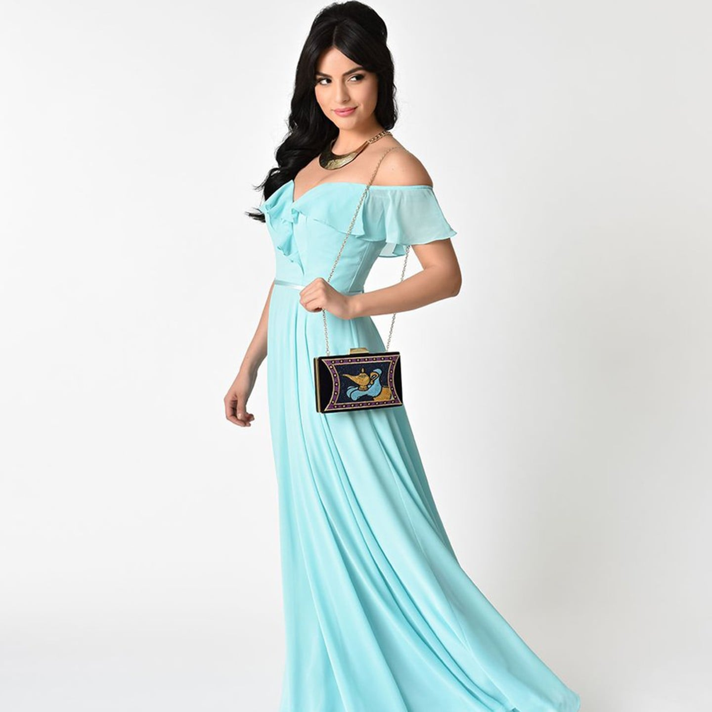Perry Blue Off The Shoulder Two Piece Satin Prom Gown | Unique ...