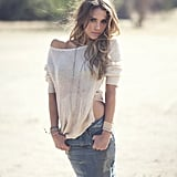 Jessica Alba posed for photographer David Bellemere in a Raquel Allegra sweater, Ksubi denim skirt, Isabel Marant necklace, and other statement baubles by Chan Luu, Diane Kordas, Carolina Bucci, and Maria Rudman.