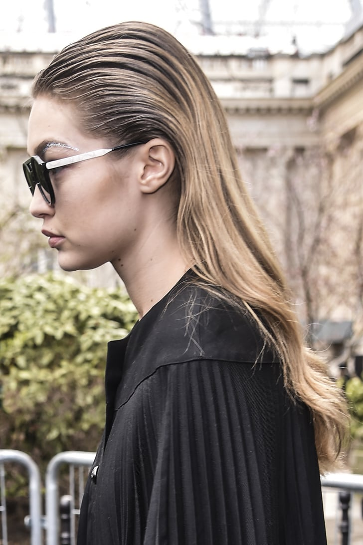 Gigi Hadid Street Style Paris Fashion Week Fall 2016 Gigi Hadid Glitter Eyebrows At