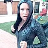 Kristen Wore a Formfitting Dragon Onesie