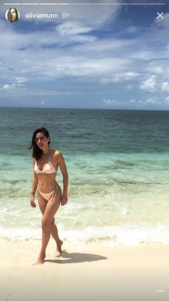 Olivia Munn is celebrating her birthday in Turks and Caicos, and she packed plenty of swimsuits for the occasion. From a sophisticated green one-piece to a romantic bikini, the actress definitely hit all the style marks. Olivia's pastel pink bikini, complete with olive ties, might not seem obvious at first, but actually, the color combination is right on trend for the season. Pink has practically become a neutral in our wardrobes, and it blends in with a beach look as easily as black, caramel, ivory, or khaki would. Read on to see how the shade lent Olivia an obvious glow on the beach, then shop similar options.      Related:                                                                                                           Olivia Munn's Baywatch Swimsuit Comes With a Personal Touch