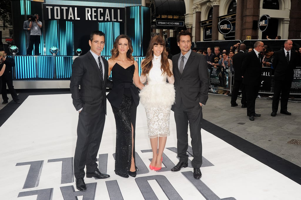Colin Farrell, Kate Beckinale, Jessica Biel and Len Wiseman posed for a photo at the UK premiere of Total Recall.