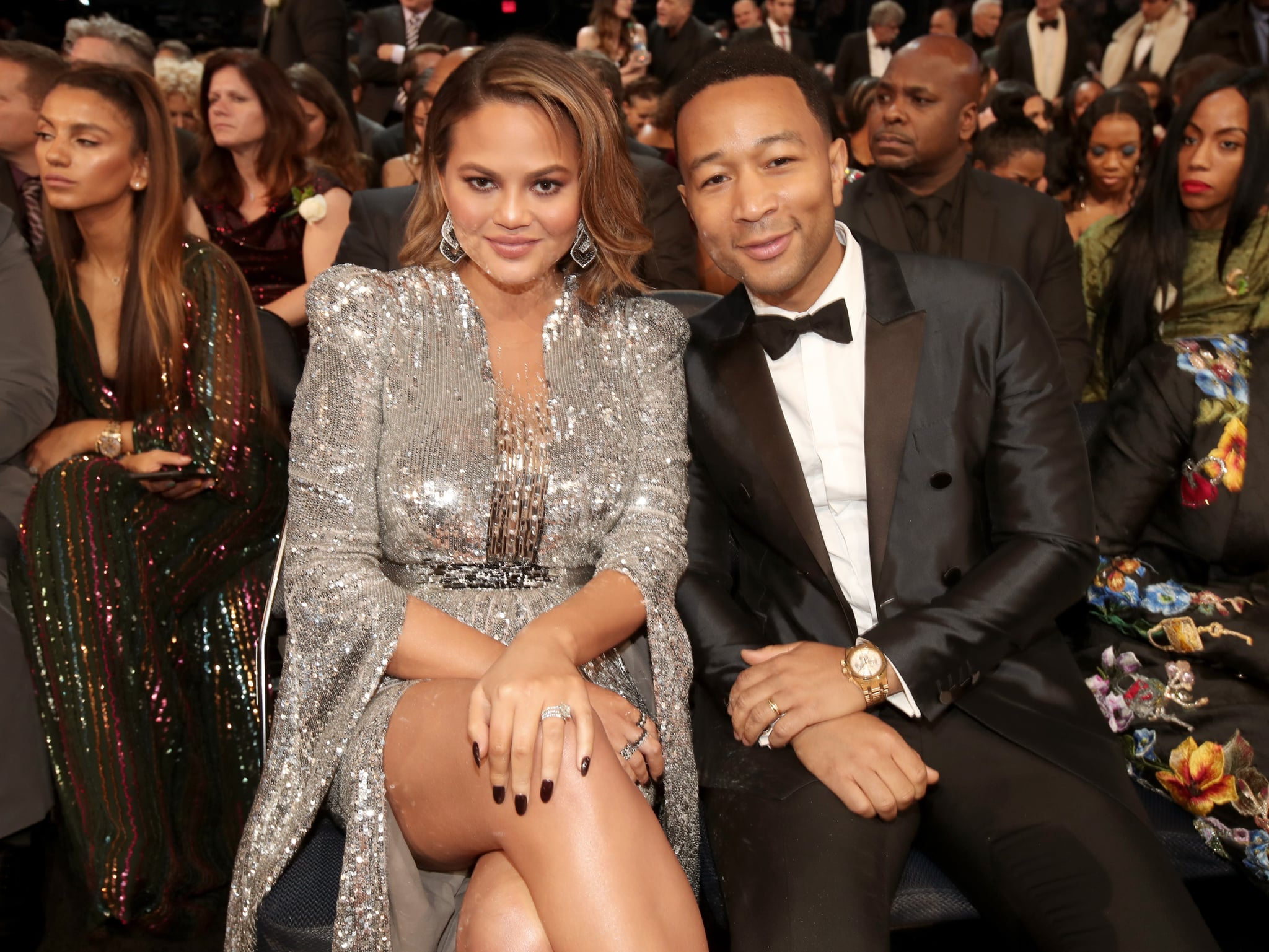 NEW YORK, NY - JANUARY 28:  Model Chrissy Teigen (L) and recording artist John Legend attend the 60th Annual GRAMMY Awards at Madison Square Garden on January 28, 2018 in New York City.  (Photo by Christopher Polk/Getty Images for NARAS)