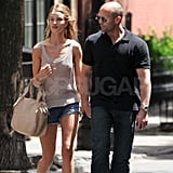 Rosie Huntington-Whiteley and Jason Statham walked hand in hand in NYC.