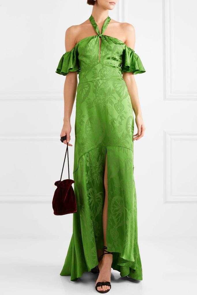 Temperley London Orbit Off-the-Shoulder Satin Jacquard Gown