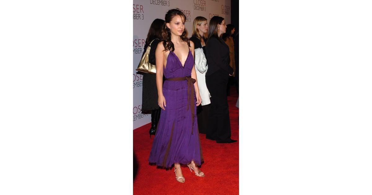 natalie portman in a purple dress at the 2004 closer la