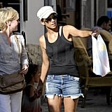Halle Berry getting directions.