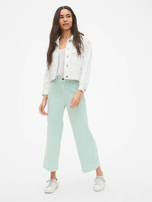 High Rise Wide-Leg Crop Chinos in Mint Green