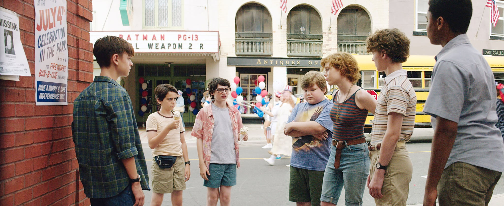 IT, from left: Jaeden Lieberher, Jack Dylan Grazer, Finn Wolfhard, Jeremy Ray Taylor, Sophia Lillis, Wyatt Oleff, Chosen Jacobs, 2017.  Warner Bros. /Courtesy Everett Collection