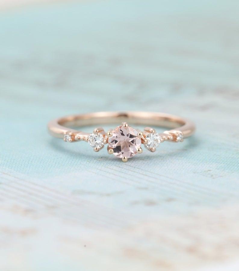 Rose Golden Imitate Diamond Engagement Rings Exquisite Micro Zircon Rings FY