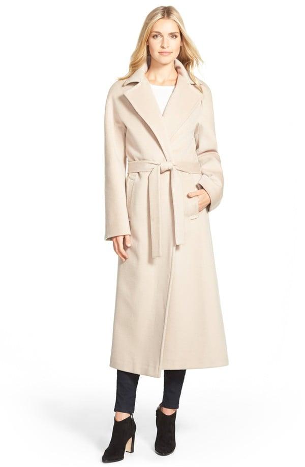 Fleurette Belted Notch Collar Loro Piana Wool Long Coat ($998)
