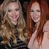 Lovelace costars Amanda Seyfried and Juno Temple smiled before the premiere of their movie at Sundance.