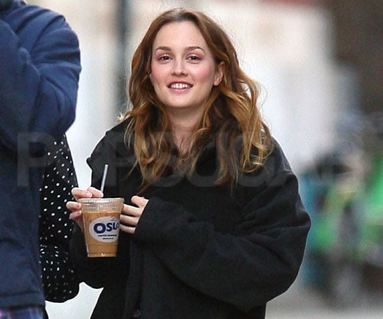 Slide Pictures of Leighton Meester Drinking an Iced Coffee on the Set of The Oranges