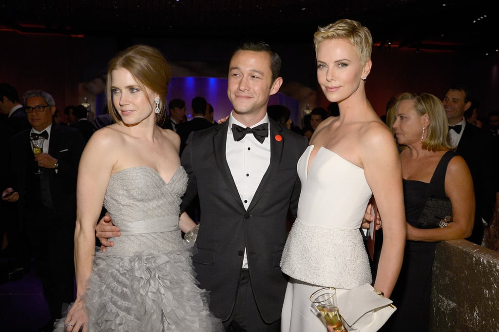 Amy Adams, Joseph Gordon-Levitt, and Charlize Theron posed together at the Governors Ball.