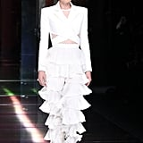 Doutzen Kroes closed the show in these white ruffled pants —a street style star's dream.
