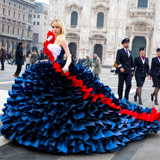 Suki Waterhouse Wears BA Ticket Gown to Milan Fashion Week