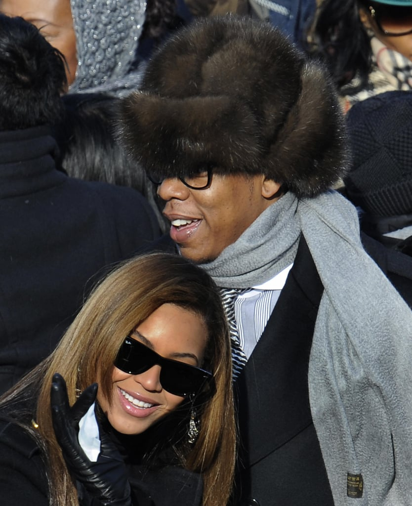 Jay-Z and Beyoncé happily watched the swearing in of President Barack Obama during his January 2009 inauguration in Washington DC.