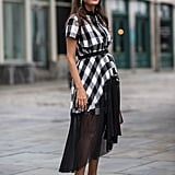 Wear a Plaid Dress With White Slingbacks