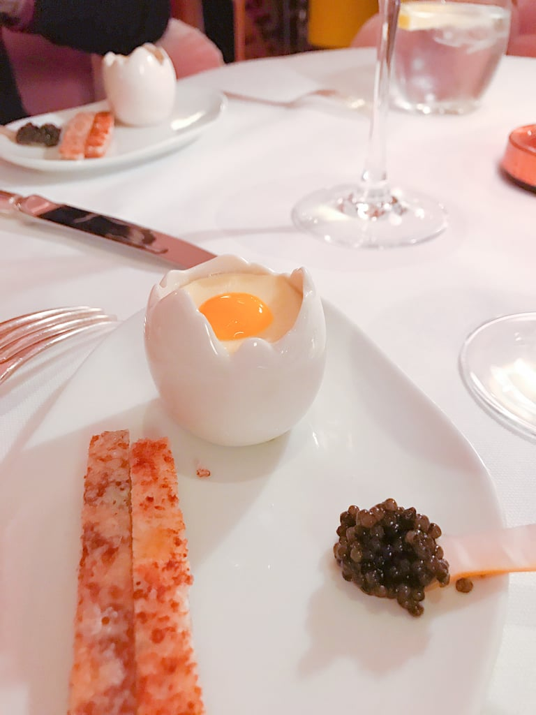 "The caviar pairs delightfully with the cheesy toast sticks and quail egg aka ""egg and soldiers."""