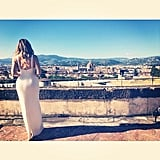 Khloé took in the view from the wedding's location while in her bridesmaid dress. Source: Instagram user khloekardashian