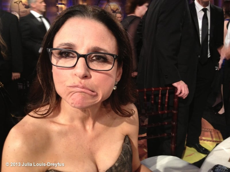 "Julia Louis-Dreyfus shared a photo of herself with the caption, ""Julia Loser-Dreyfus"". Source: Julia Louis-Dreyfus on WhoSay"