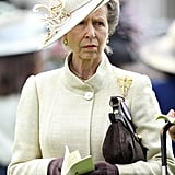 Princess Anne also wore her badge on her handbag, rather than her coat.