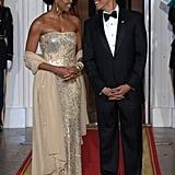 Michelle wearing Naeem Khan at a 2009 state dinner.