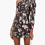 Self-Portrait One-Shoulder Floral-Sequinned Velvet Mini Dress