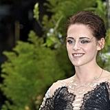 Kristen Stewart hit the red carpet solo in London.