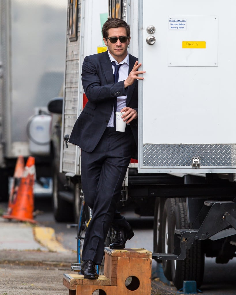 Jake Gyllenhaal stepped out of his trailer on the NYC set of Demolition on Tuesday.