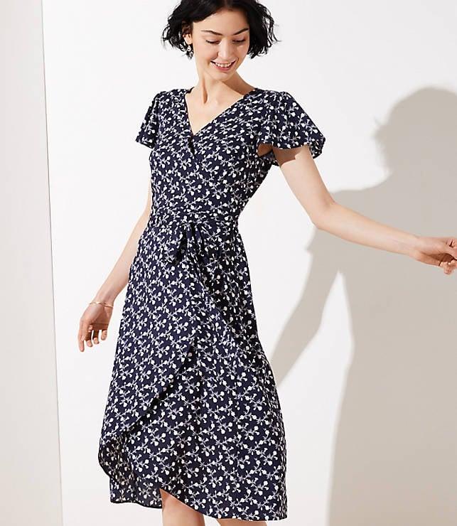 9c2620d0052 Loft Vine Flutter Wrap Dress
