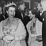 Queen Elizabeth II, her sister, Princess Margaret, and husband Prince Philip put on their finest for the premiere of Neapolitan Fantasy back in 1954.