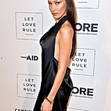 Bella Hadid's Black Dress and Chrome Hearts Body Chain
