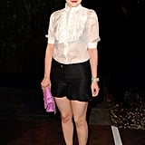 Ginnifer Goodwin got in on the dressy shorts trend, pairing it with a white tuxedo top.