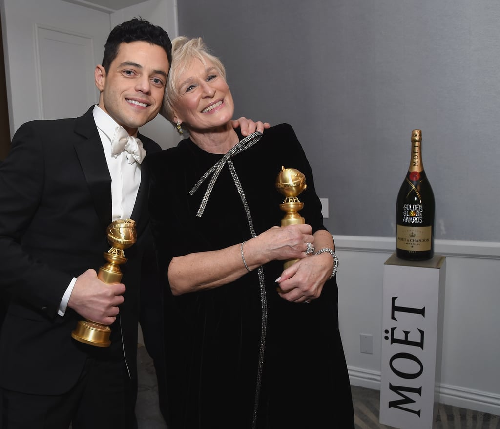Rami Malek and Glenn Close cuddled up together for an adorable snap at the 2019 award ceremony.