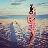 Chanel Iman did her best Beyoncé pose on the beach. Source: Instagram user chaneliman