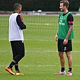 David Beckham played soccer with the Arsenal club team.