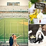 Bring Your A-Game to Your Big Day With These Football-Inspired Touches  If you and your groom are all about football, you can carry that passion into your wedding day without having to sacrifice style. We're taking a look at couples who brought football-inspired touches to their nuptials in a creative, thoughtful way — no cheesy pigskins in sight. Hoping to celebrate your love of the game with a few special details? Huddle up with your honey to see football-inspired venues, flowers, paper goods, and more!
